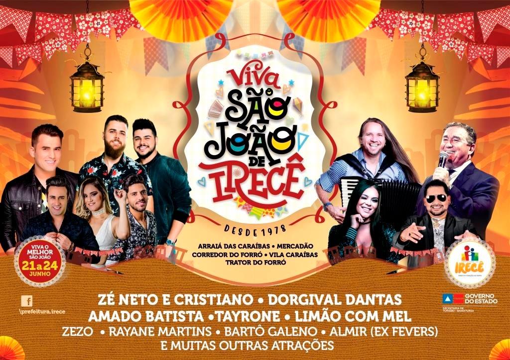 Prefeitura de Irecê divulga atrações principais do São João
